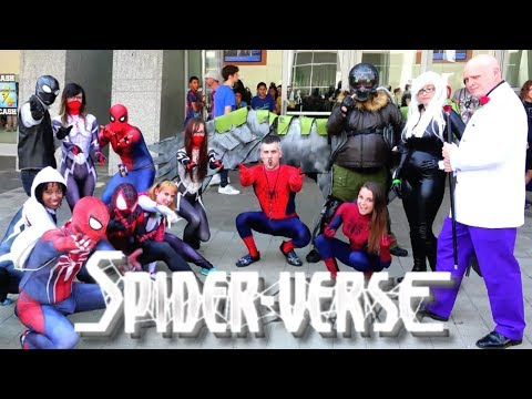 Spider-Man SPIDER-VERSE Invades RALEIGH SUPERCON! Epic Real Life Flash Mob Prank!