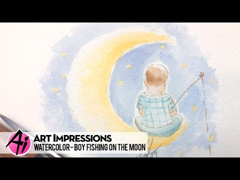 Ai Watercolor - Boy Fishing On The Moon