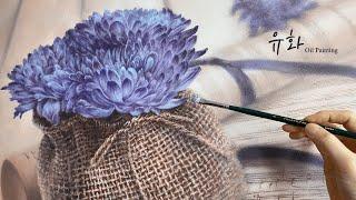 유화 그리기. 꽃이 있는 정물화. Oil Paintin…