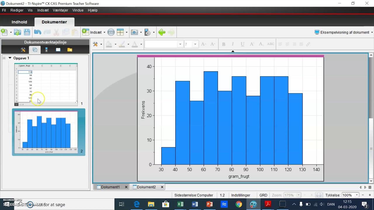 Grupperet data del 1: Histogram og intervalhyppighed i Nspire