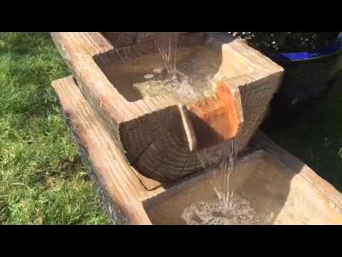 3 Level Wooden Log Water Feature Garden Patio Fountain