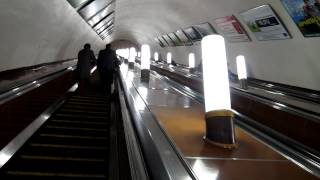 Moscow Metro - Long escalator on Smolenska station