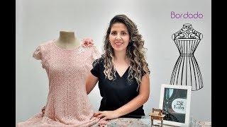 Rosas de tecido – Fazendo bordado com rosas de tecido