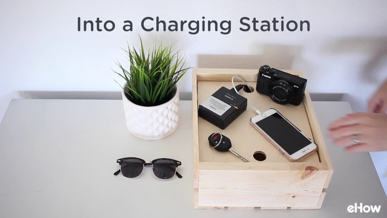 DIY Wood Crate Charging Station