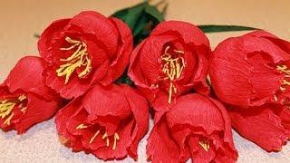 ТЮЛЬПАНЫ из гофрированной бумаги - Paper crepe flowers(Как сделать ТЮЛЬПАНЫ из гофрированной бумаги своими руками Мой КАНАЛ тут YOUTUBE https://www.youtube.com/user/MsSvoimirukami ..., 2014-05-02T10:23:29.000Z)