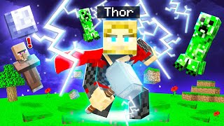 Playing MINECRAFT As THOR! (Superpowers)