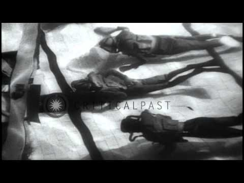 British frogmen crash dive using self-contained oxygen tanks during a training ma...HD Stock Footage