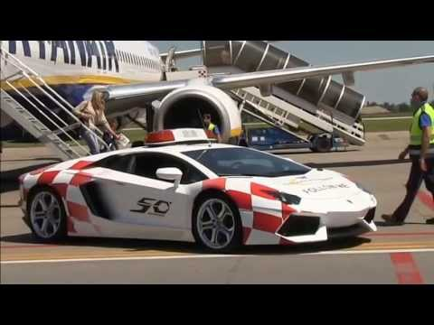 Lamborghini Aventador LP700-4 Follow-me car at Bologna Marconi Airport