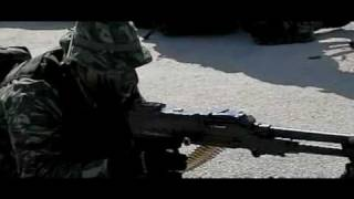 FN MAG reloading and firing blank, slow motion