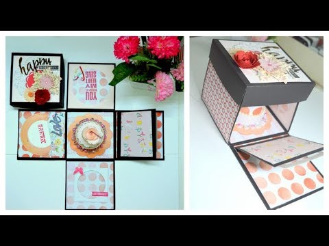 How To Make An Explosion Box Card With A Cake Inside Step By