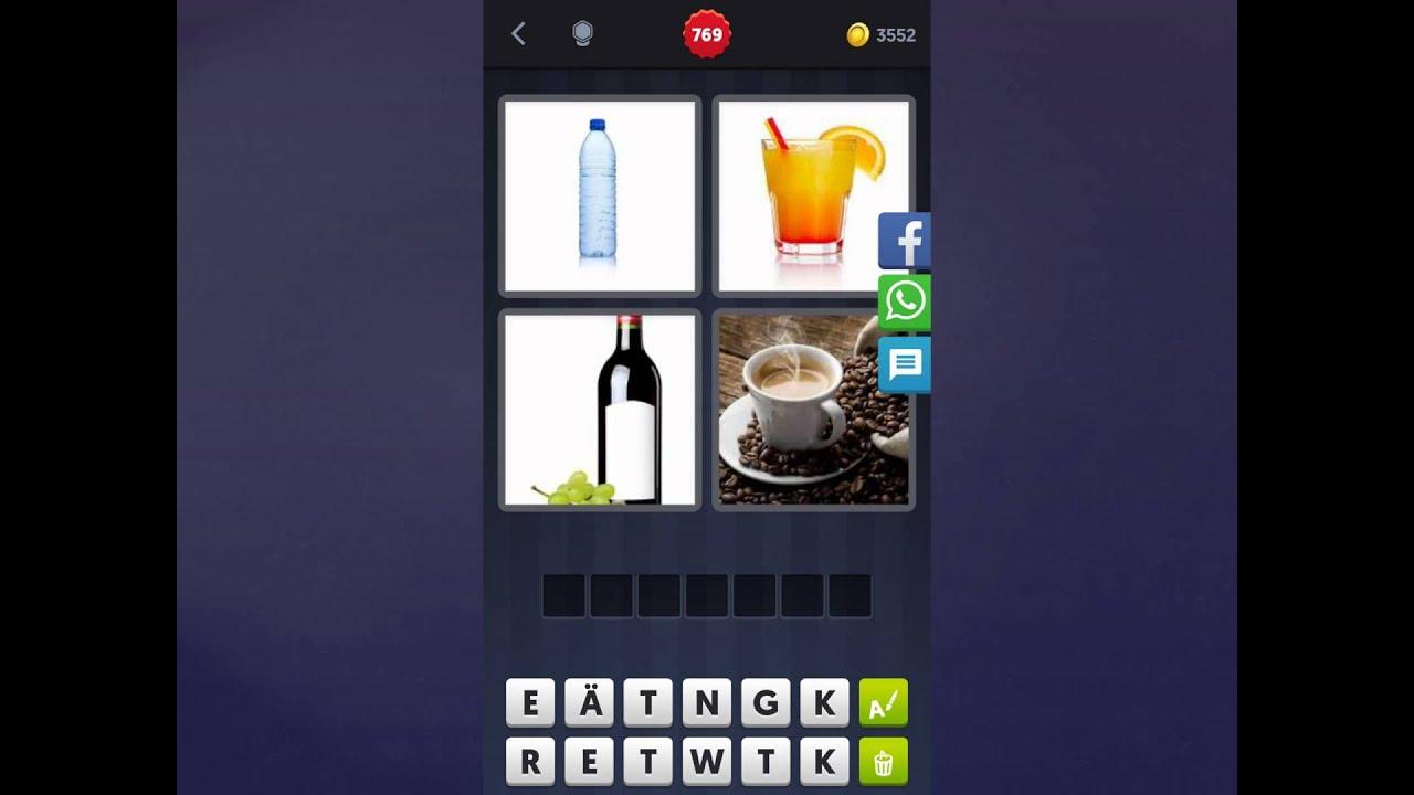 4 Bilder 1 Wort Lösung [Wasser, Orangensaft, Wein, Kaffee]
