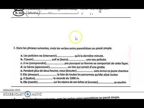 Correction Des Exercices Du Passe Simple Passe Anterieur 2ac Youtube