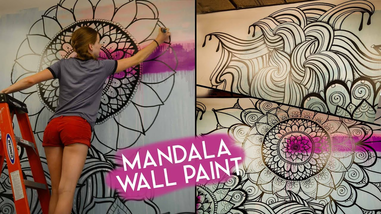 Mandala wall art no stencils youtube amipublicfo Images