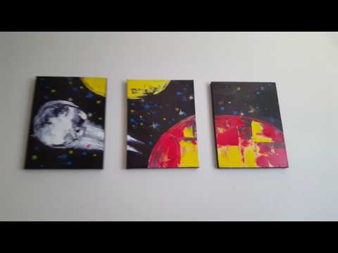 """Video Review: Delma Modern Framed Abstract Oil Painting """"universe"""" 3-Piece Gallery-Wrapped Wall Art"""