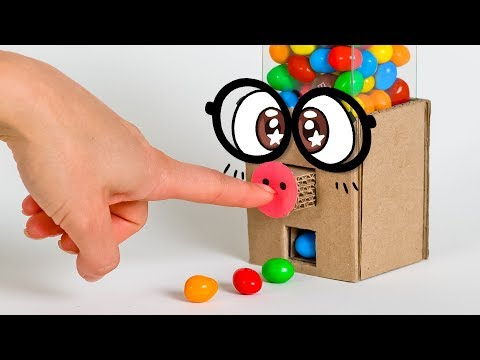 Press & Play DIY Gumball Machine from Cardboard
