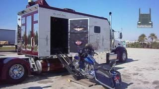 Custom Peterbilt with its own Harley-Davidson Garage SemiTruckGallery.com