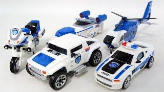 Police Cars Transformers 5 Vehicle Combine Robot Car Toys 경찰차 헬기 보트 5대 로봇 변신 합체 동영상