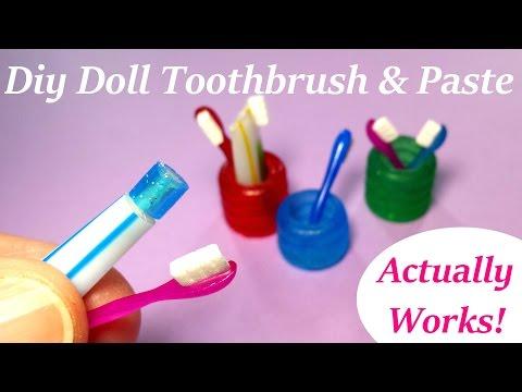 DIY Miniature Doll Toothbrush, Holder, & Working Toothpaste - Bathroom Accessories