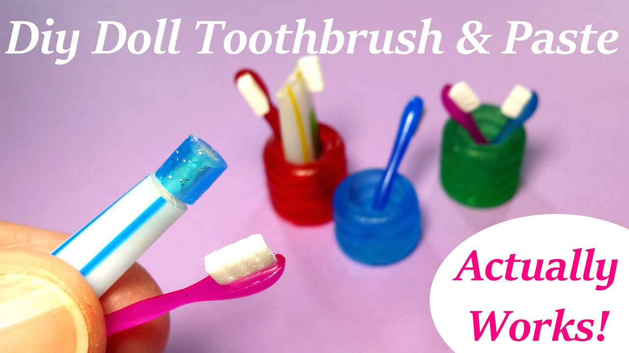 diy miniature doll toothbrush, holder, & working toothpaste