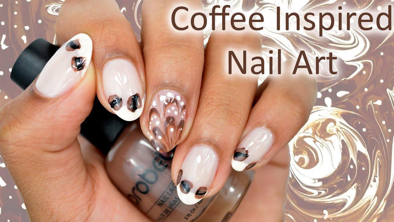 Diy Coffee Inspired Nail Art Watermarble Youtube
