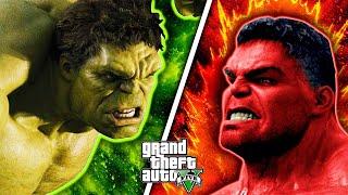 GREEN HULK defeated MONSTER RED HULK for his CAR   GTA 5 AVENGERS