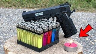 EXPERIMENT: GUN VS 50 LIGHTERS