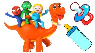 FUNNY KIDS & THE BABY DINO ❤ Play Doh Cartoons For Kids