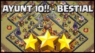 3 ESTRELLAS AYUNT 10!! - BESTIAL - A por todas con Clash of Clans - Español - CoC