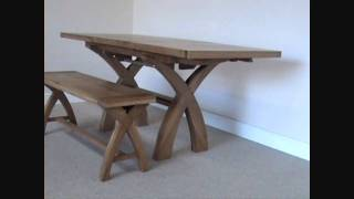 1.3 - 1.8m Country Cross Leg Oak Dining Table