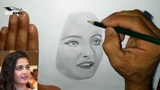 Anushka Shetty Realistic Painting | Devasena Painting | Anushka Drawing Sketch ( oil painting )