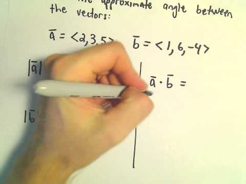 Dot Product : Find Angle Between Two Vectors , Another Example