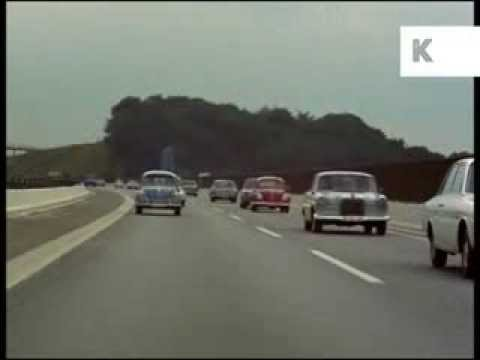 1960s Europe Motorway Driving, Rare Colour 35mm Archive Footage, Vintage Cars