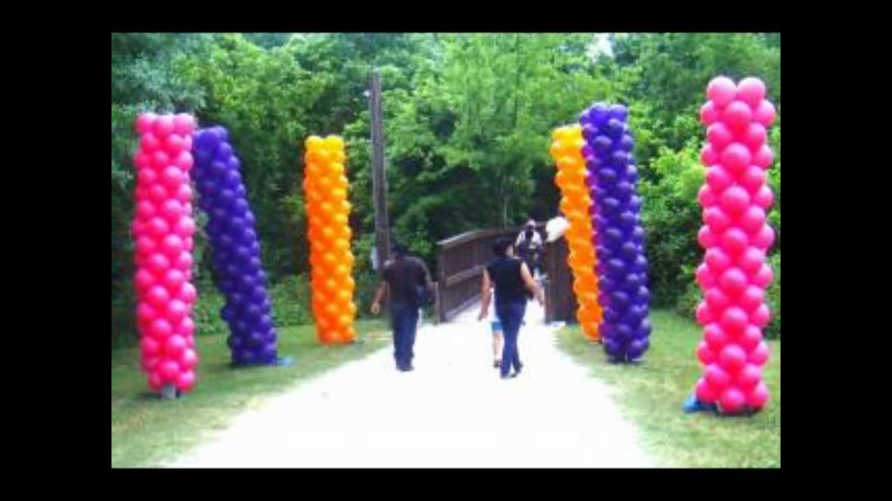 Balloon arches and column ideas youtube for Balloon decoration ideas youtube