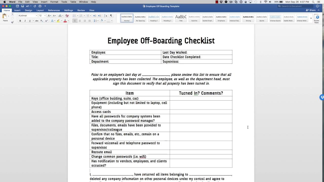 employee off boarding checklist template youtube. Black Bedroom Furniture Sets. Home Design Ideas