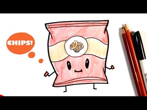How to Draw a Bag of Potato Chips - Chibi - Easy Pictures to Draw