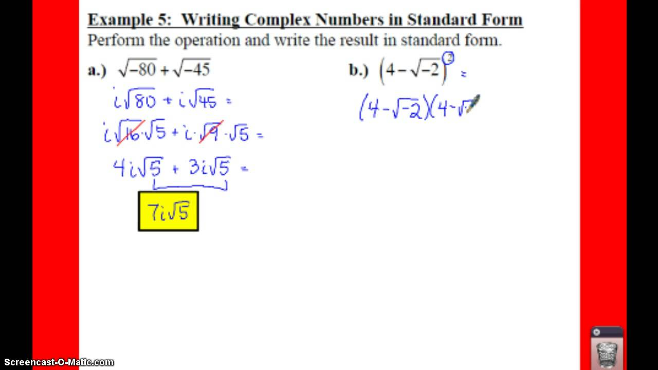 Pre calculus 24 complex numbers lessons tes teach pc 24 notes example 5 write complex numbers in std form falaconquin