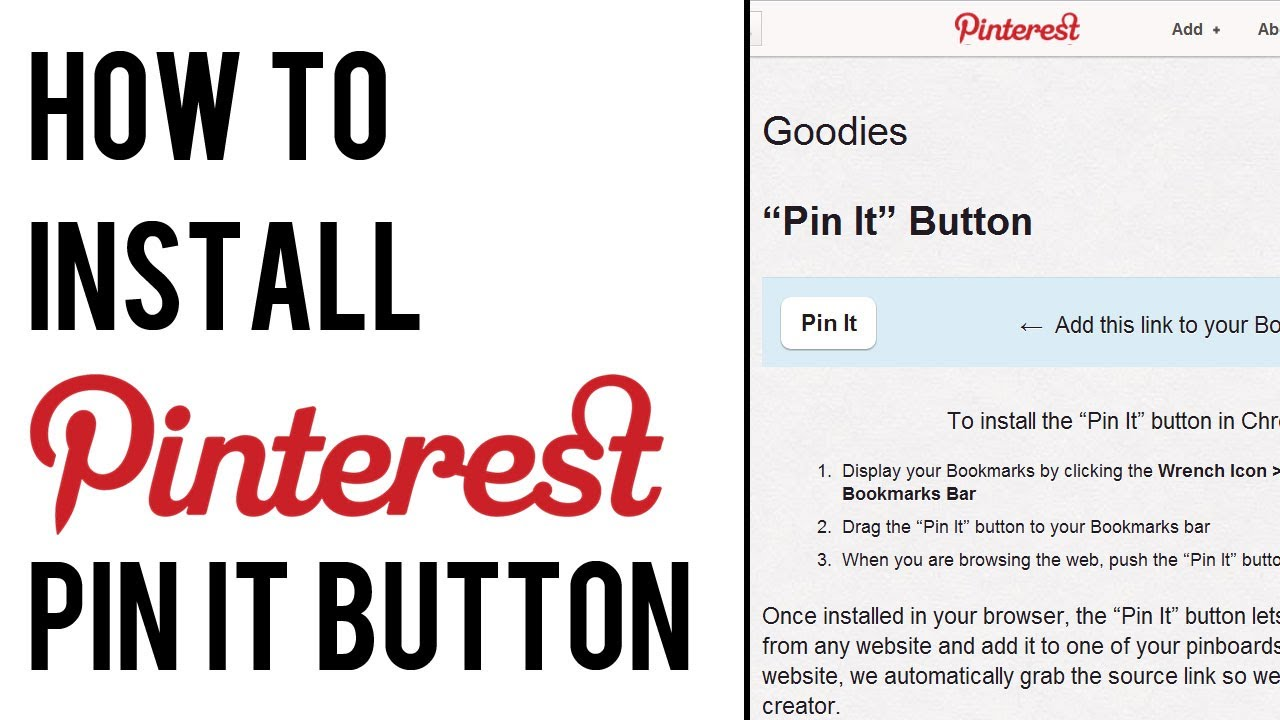 How To Add Pinterest Pin It Button To Bookmarks Bar