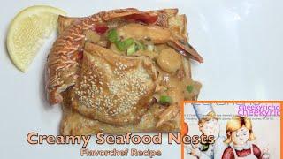 Creamy Seafood Nest cheekyricho Flavorchef video recipe episode 1,112