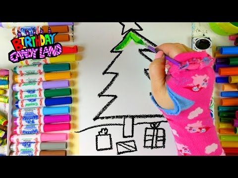 Learn Colors for Kids and Hand Color Christmas Tree Coloring Pages