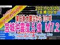 宮城沖 最大震度5強 M7.2 2021/03/20(18:09)