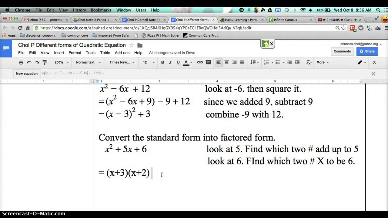Convert from standard to factored form youtube convert from standard to factored form falaconquin