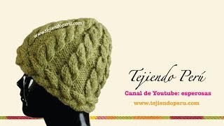 Repeat youtube video Gorro con trenzas tejido en dos agujas (Parte 1)