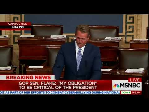 GOP Sen. Jeff Flake on Trump: 'I will not be complicit or silent.'