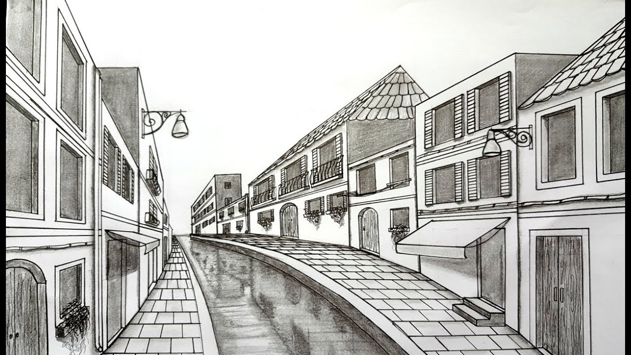 How to Draw using One Point Perspective | Venice Scene ...