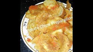 Crispy Aloo Chips / Potato Chips / Bangala dumpa Chips / Urla gadda Chips Recipe Preparation Telugu