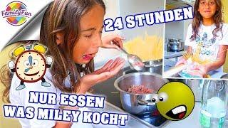 24 STUNDEN nur ESSEN was MILEY KOCHT 🤣🍛 zu KRASS? - Family Fun