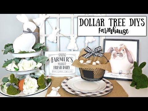 DOLLAR TREE DIY FARMHOUSE EASTER DECOR   NEUTRAL THEME   6 EASY IDEAS