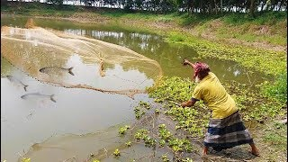 Net Fishing | Catching Fish by Using Cast Net | Best Fishing in Village Pond