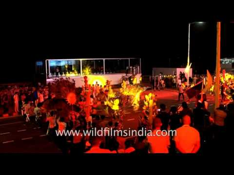 Gujarati dancers rehearse for International City Parade in Visakhapatnam