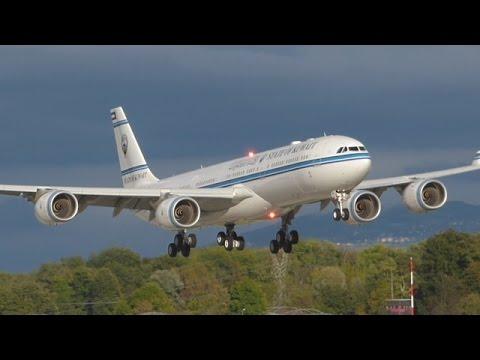 [FullHD] State of Kuwait Airbus A340-500 landing & takeoff at Geneva/GVA/LSGG